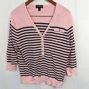 Pink & navy blue striped Lands End Sweater